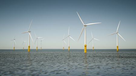 Una imagen de un parque de energía eólica marina Foto de archivo - 27262600