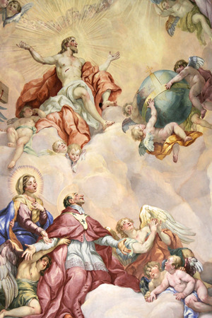 An image of a nice and beautiful fresco showing heaven and angels