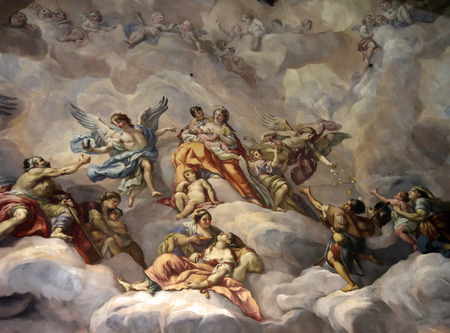 gild: An image of a nice and beautiful fresco showing heaven and angels Editorial