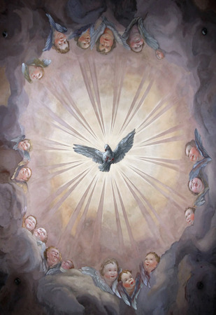 painting style: An image of a nice and beautiful fresco showing heaven and angels Editorial