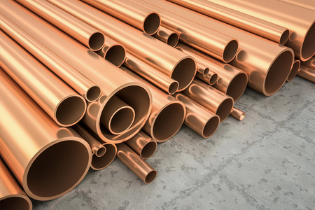 An image of some nice copper pipes in a warehouse photo