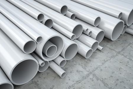 Un'immagine di alcuni tubi di plastica in un magazzino Archivio Fotografico - 27690942
