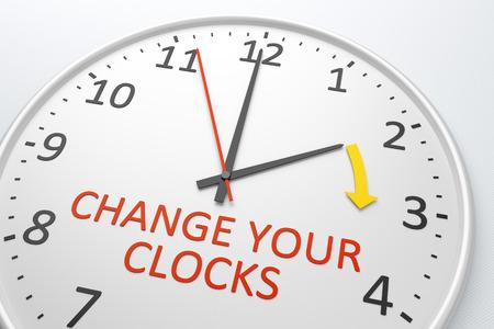 L'immagine di un orologio piacevole con testo cambia vostri orologi Archivio Fotografico - 27747995