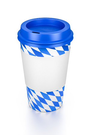 to go cup: An image of a typical coffee to go cup with bavarian colors Stock Photo