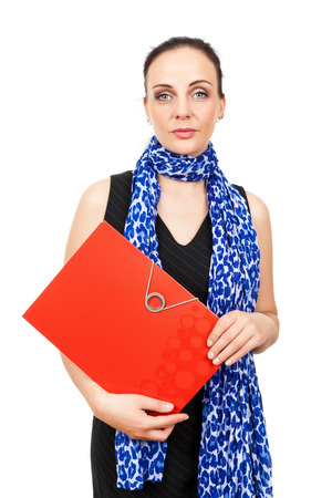An image of a business woman with a red binder photo