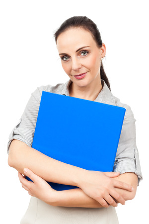 An image of a business woman with a blue binder photo
