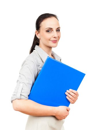 An image of a business woman with a blue folder photo
