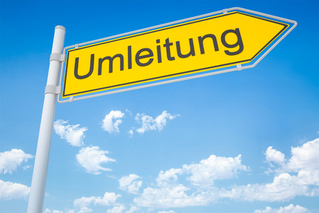 An image of a german road sign - diversion Imagens