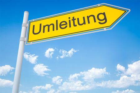 An image of a german road sign - diversion Banco de Imagens
