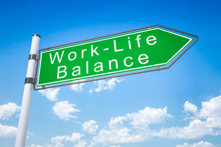 lost in space: An image of a typical road sign arrow work - life balance Stock Photo