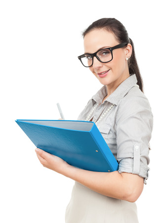 A business woman with a blue folder and a pencil photo