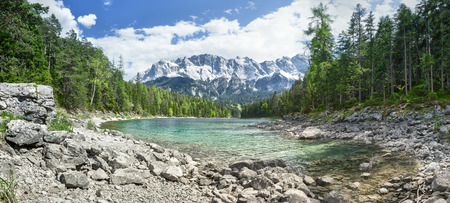 An image of the Eibsee and the Zugspitze in Bavaria Germany photo