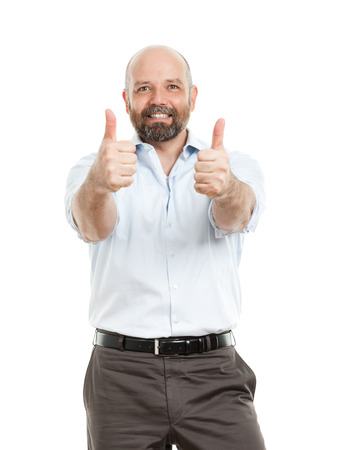 An image of a handsome business man with both thumbs up photo
