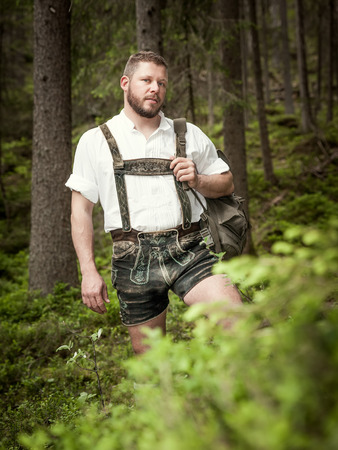A traditional bavarian man in the nature