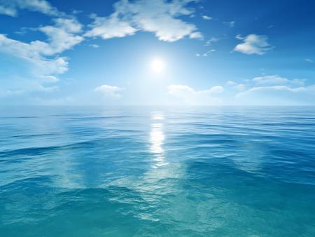 Een afbeelding van een blauwe hemel oceaan achtergrond Stockfoto
