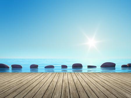 Een afbeelding met een aantal stap stenen in de oceaan Stockfoto
