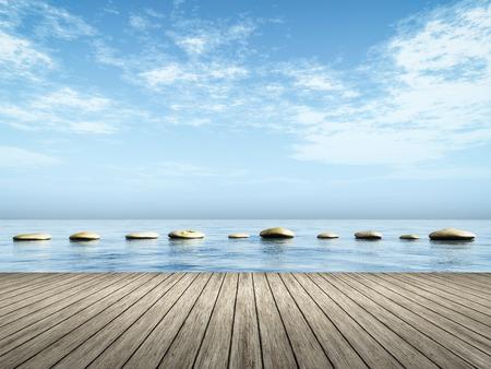 푸른 바다에서 단계 돌의 이미지
