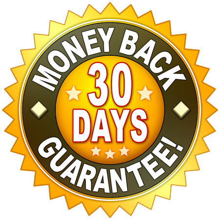 Een geld terug garantie symbool voor uw website Stockfoto