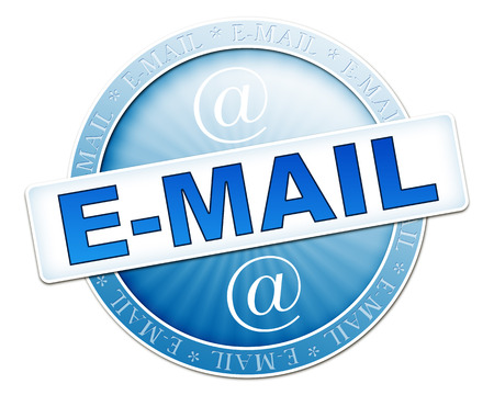 webmail: An image of a useful blue e-mail button Stock Photo