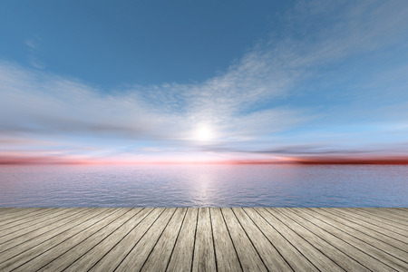 foreground: An illustration of a sunset over the ocean Stock Photo