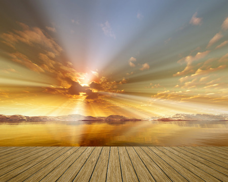 An image of a beautiful golden sunset over the ocean photo