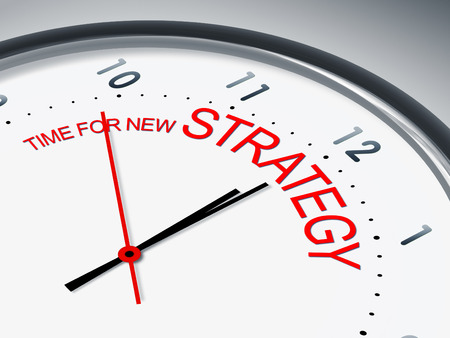 Communication strategy: An illustration of a clock with the words time for new strategy