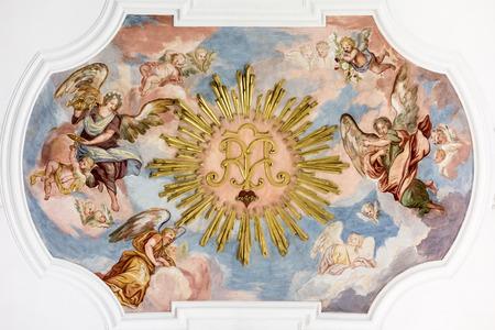 美しい宗教的なフレスコ画のイメージ 写真素材