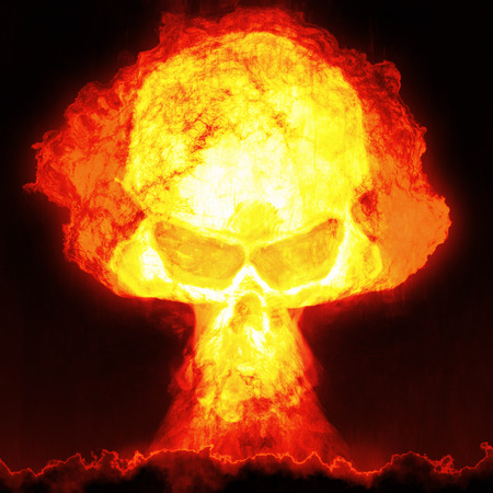 An image of a nuclear bomb with a skull photo