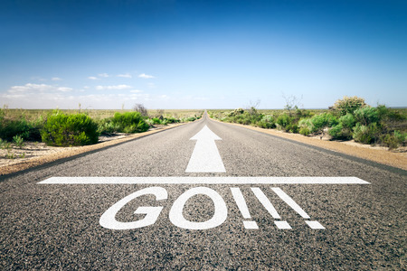 solutions freeway: An image of a road to the horizon with text go