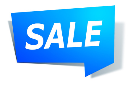An image of a stylish blue design label with text sale Stock Photo