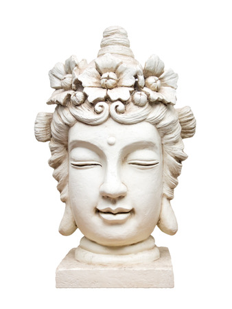An image of a beautiful white isolated buddha face sculpture photo