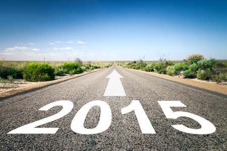 next horizon: An image of a road to the horizon with text 2015 Stock Photo