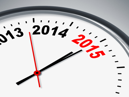 year increase: An illustration of a clock with 2013 2014 2015