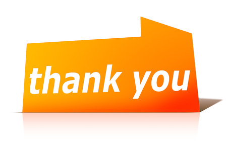 An image of a stylish red design label with text thank you photo