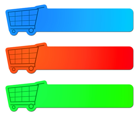 An image of three shopping cart signs photo