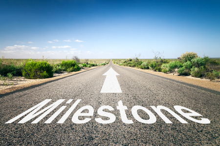 An image of a road to the horizon with text milestone photo