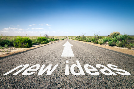 way of thinking: An image of a road to the horizon with text new ideas