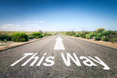 way of thinking: An image of a road to the horizon with text this way