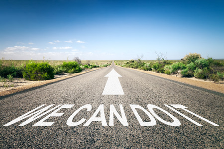 An image of a road to the horizon with text we can do it photo
