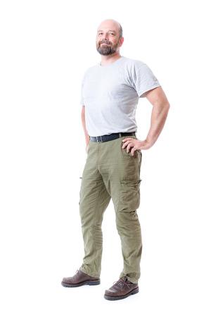 ひげ全身白で隔離でハンサムな男のイメージ