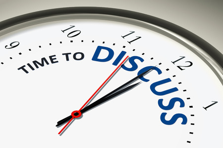 An image of a nice clock with time to discuss