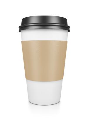 tazas de cafe: Un café para llevar aislado en un fondo blanco Foto de archivo