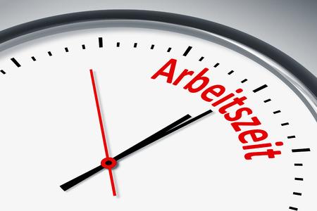 Eine Uhr mit Text Arbeitszeit Stock Photo
