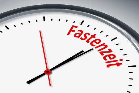 konzept: Eine Uhr mit Text Fastenzeit