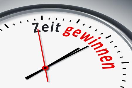 konzept: Eine Uhr mit Text Zeit gewinnen Stock Photo