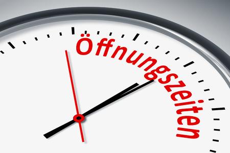 konzept: Eine Uhr mit Text Zeit Oeffnungszeiten