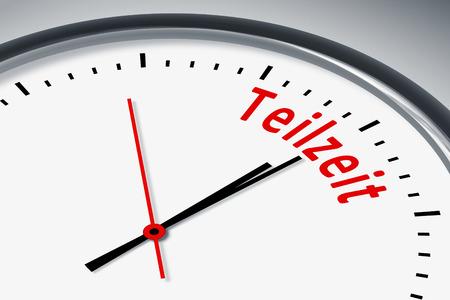 Eine Uhr mit Text Teilzeit Stock Photo