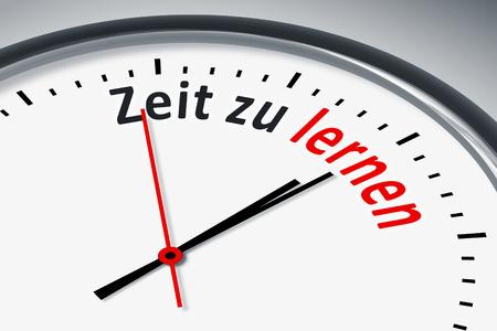 konzept: Eine Uhr mit Text Zeit zu lernen
