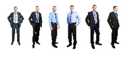 A set of pixel art business man photo