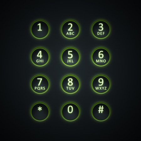 entry numbers: An image of a digital dial plate green lit